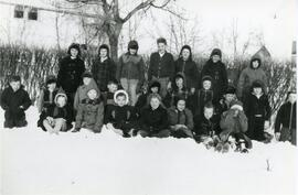 A Group of Students in The Snow in Biggar, Saskatchewan