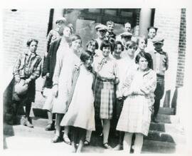A Group of Students in Front of Biggar Public School