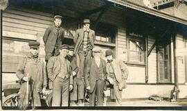 A Group of Men in Front of the CN Train Station in Biggar, Saskatchewan