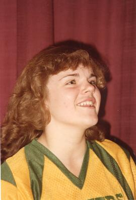 A BCHS Blazers Girls Basketball Team Member at the SHSAA Provincial Championship of 1980-81
