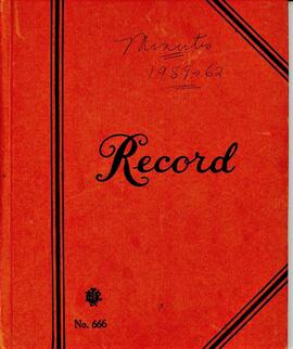 Royal Canadian Legion Ladies Auxiliary Minute Book 1959 - 1962