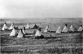 Indigenous camp on the Prairies
