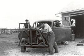 The Lobb Brothers building stock car in Beatty, Sask.