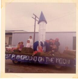 "1st Playground on the ""Moon"" parade float"