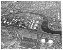 Aerial view of British American Oil Refinery in Moose Jaw, Saskatchewan