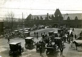 Auto Club Receiving a Deputation at the C.P.R. Station