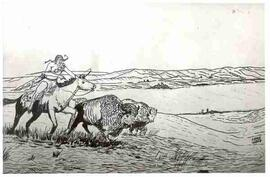 Sketch of Indian hunting buffalo at Buffalo Pound Lake