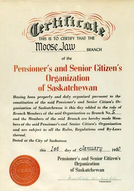 Pensioners and Senior Citizens Organization of Saskatchewan, Branch 5, Moose Jaw fonds
