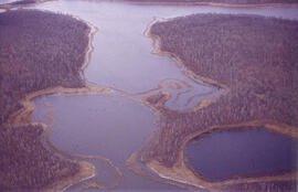 Aerial view of dead ice moraine - effects of lowered water level