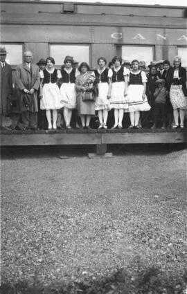 Group on a train platform.