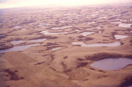 Aerial view of dead ice moraine with knob and kettle topography